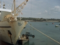 1983, Fun with cranes, Scillonian III lifting land rover onto barge