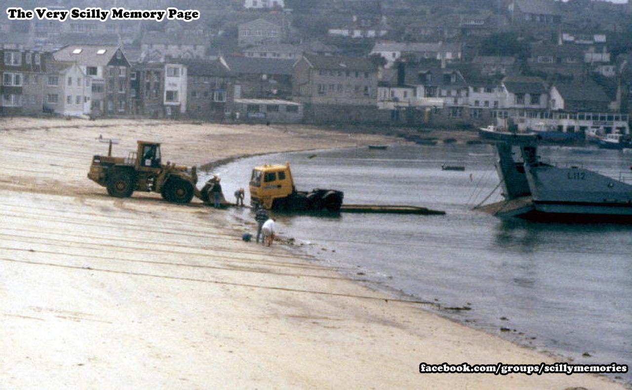 1990s, truck stuck in sand, Town Beach.