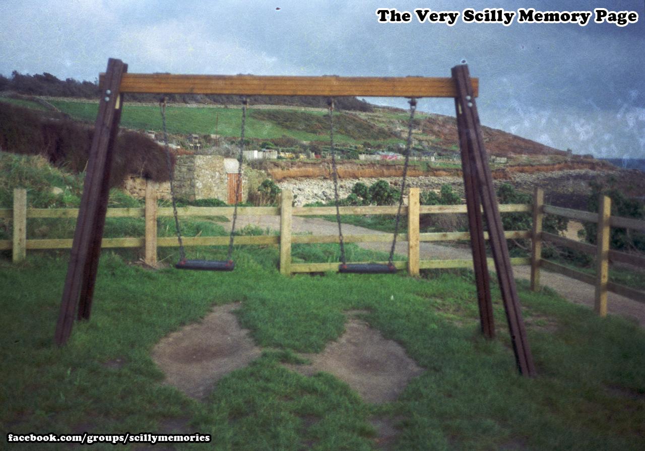 1992, Porthcressa Playpark Swings, St Mary's.