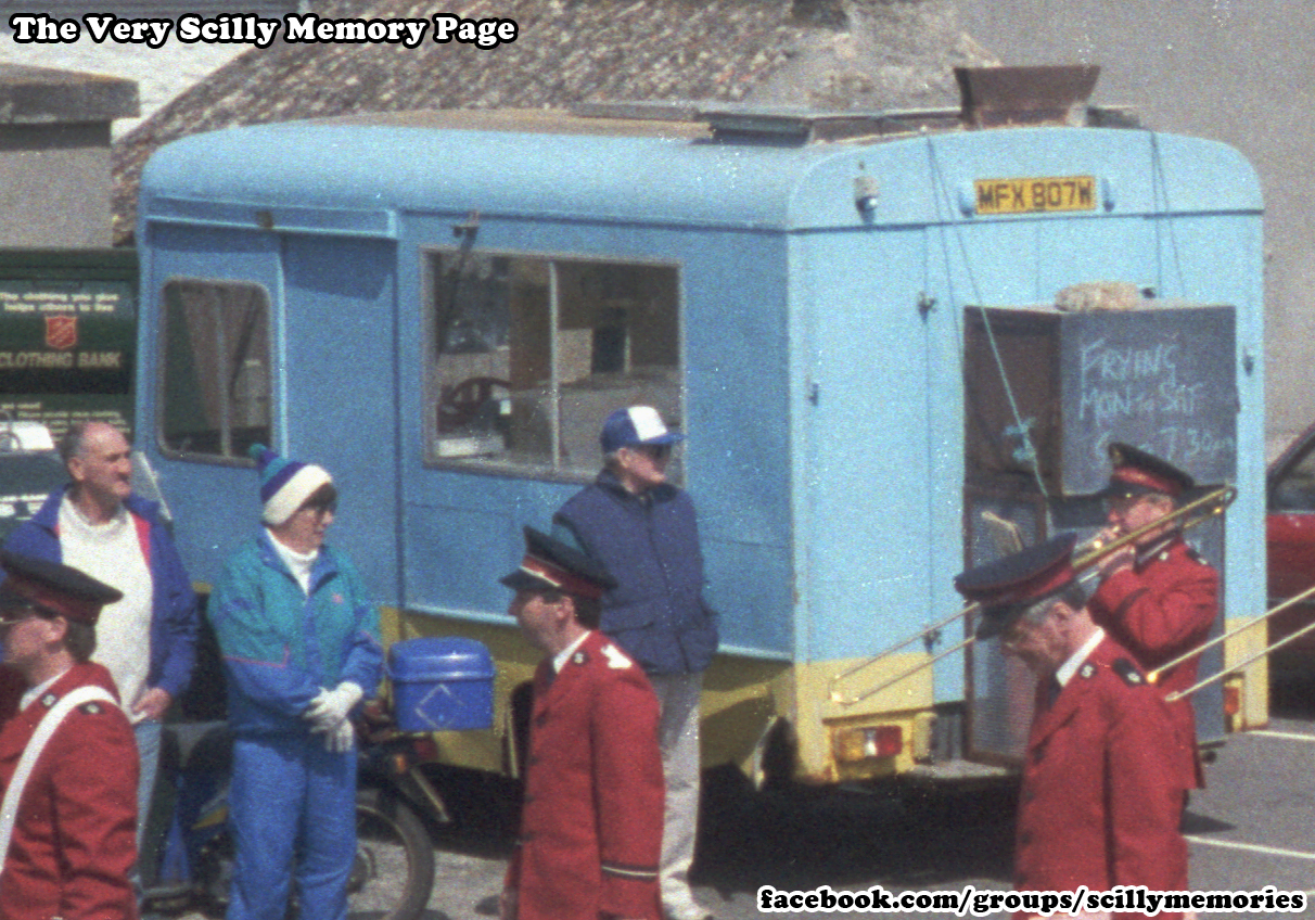 1993, Fish and Chip Van, Porthcressa, Town Hall, Scilly, Historical Picture, Photograph