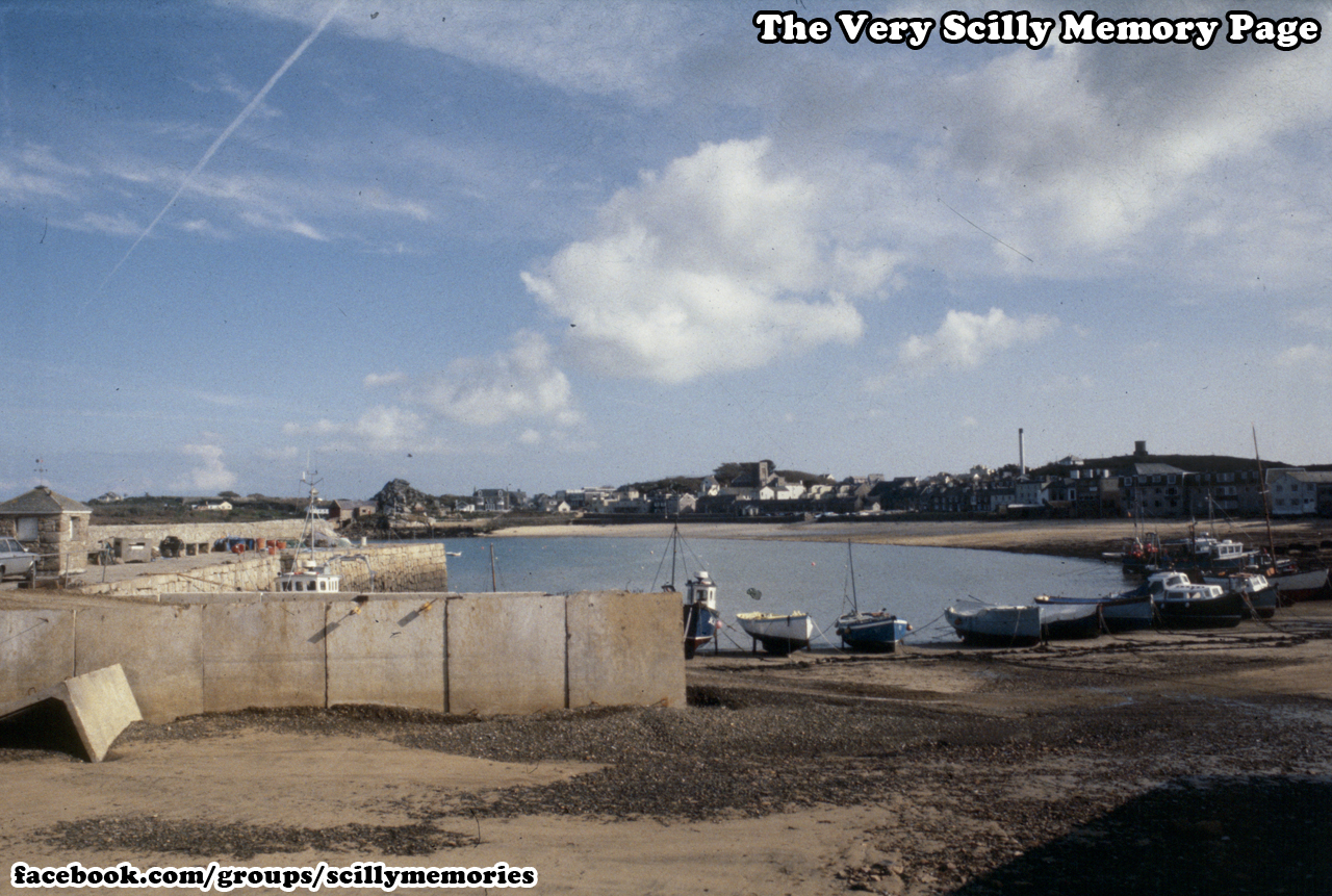 1994, Sea defence upgrades, temporary ramp to old quay, St Mary's