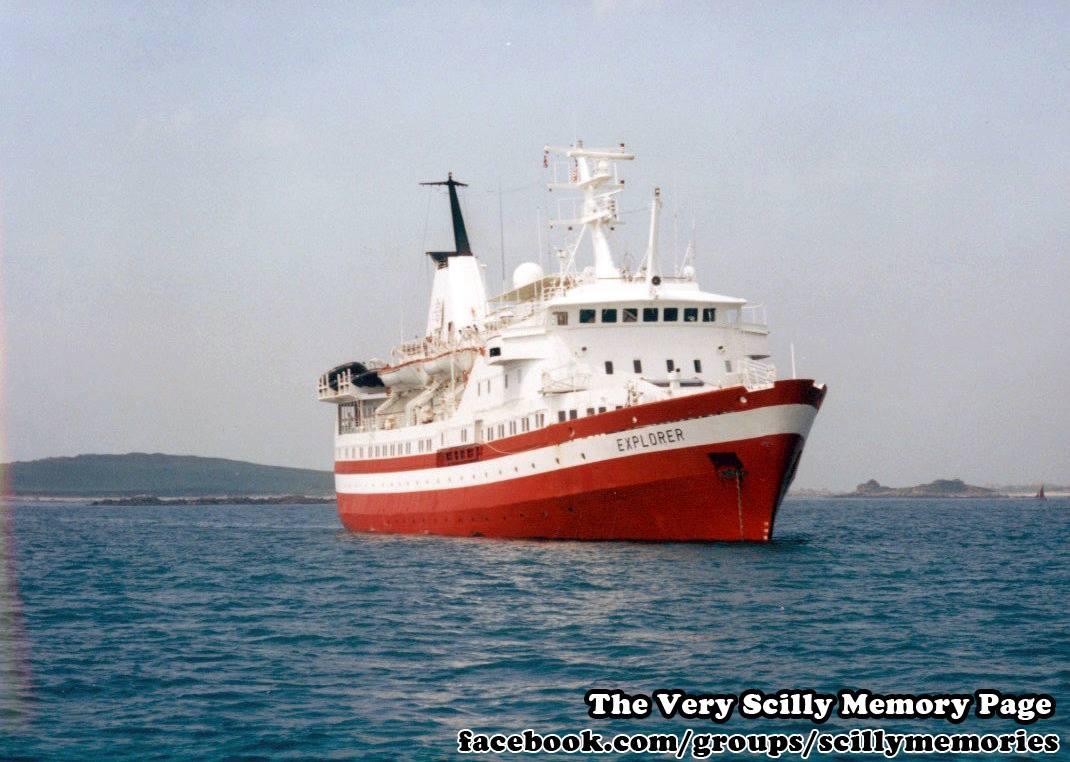 1995, MV Explorer Visits Scilly