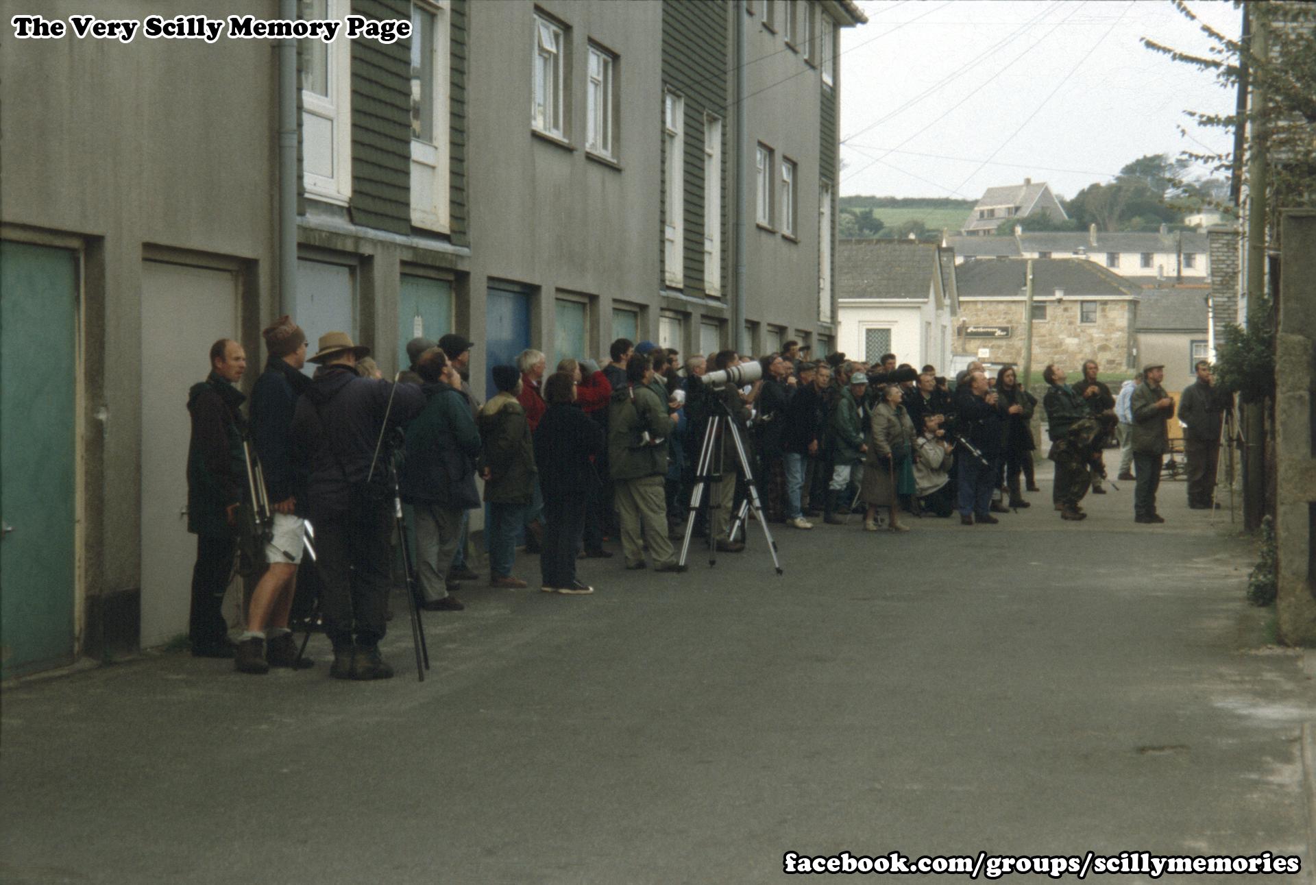 1999, bird watchers near Porthcressa