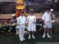 Pupils from Carn Gwarvel school in their white May Day outfits.